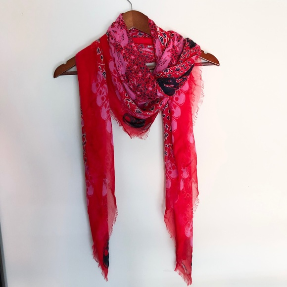 70bc55c204e Zadig & Voltaire Kerry Garden skull Scarf red pink